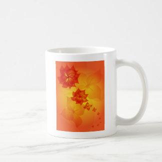 floral ornament orange sun coffee mug