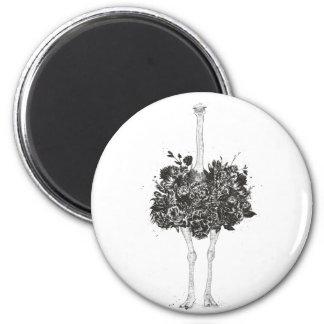 Floral ostrich magnet
