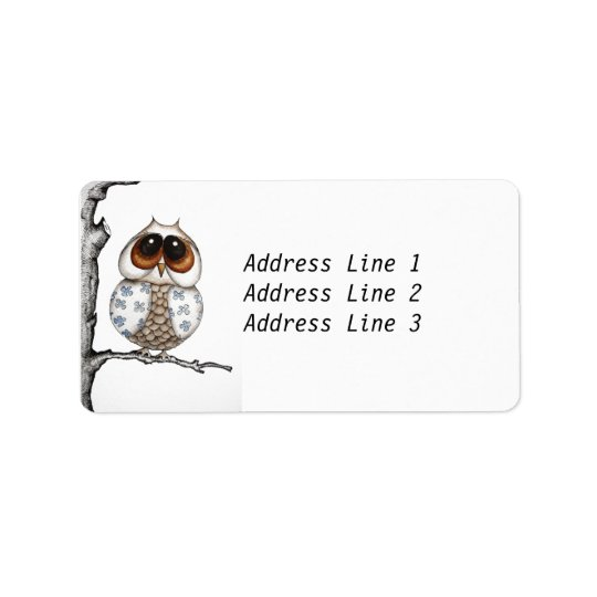 Floral Owl Address Label