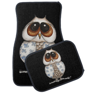Floral Owl Car Mats Full Set
