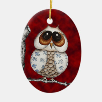 Floral Owl red Ornament