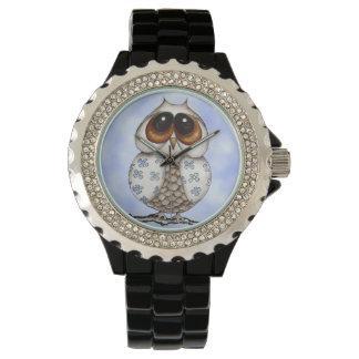 Floral Owl Rhinestone Watch