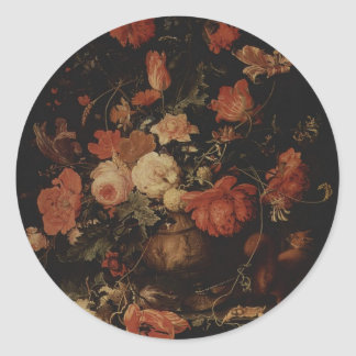 Floral painting by Abraham Mignon Classic Round Sticker