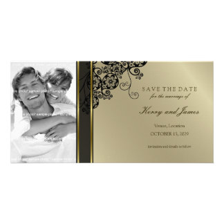 Floral Paisley Black Save The Date Photo Card
