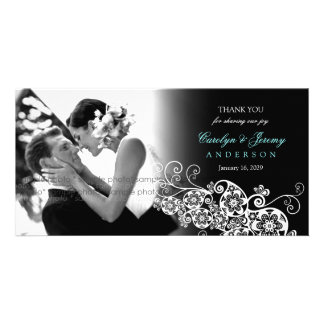 Floral Paisley Boho Wedding Thank You PhotoCard Customized Photo Card