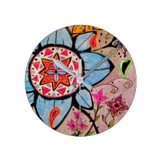 Floral & paisley cheery wall clock
