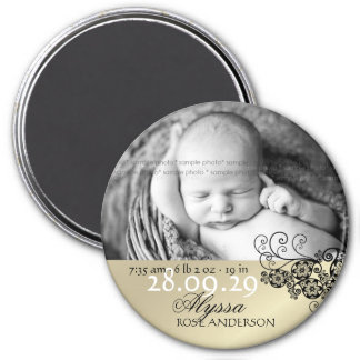 Floral Paisley Chic Black Birth Announcement Photo 7.5 Cm Round Magnet