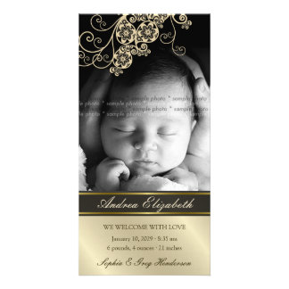 Floral Paisley Flower Chic Baby Birth Announcement Customized Photo Card