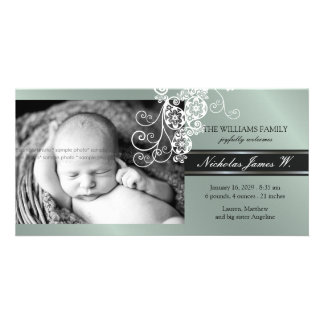 Floral Paisley Flower Chic Baby Birth Announcement Photo Card