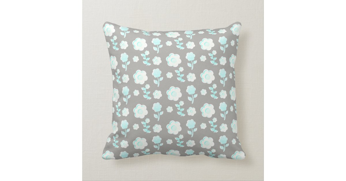 Pale Aqua Throw Pillow : Floral, pale aqua on grey, personalised throw pillow Zazzle