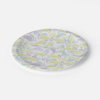 Floral Pale Paper Plate