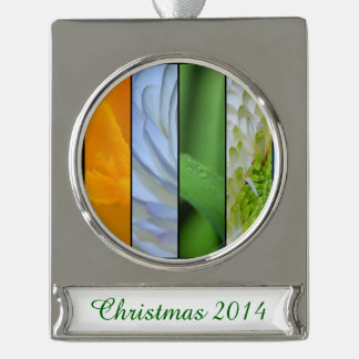 Floral Panels in Rainbow Colors Silver Plated Banner Ornament