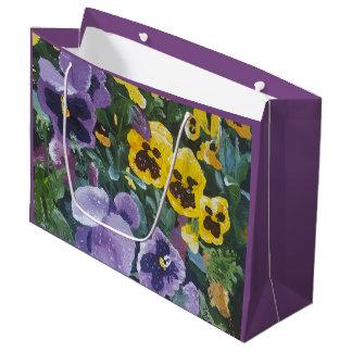 Floral Pansy Giftbag Large Gift Bag