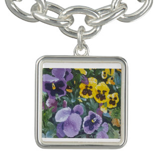 Floral Pansy Silver Plated Charm Bracelet