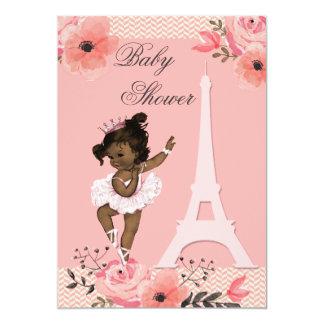 Floral Paris Eiffel Tower Ethnic Ballerina Shower 5x7 Paper Invitation Card