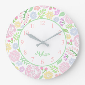 Floral Pastel Monogram Round Wall Clock