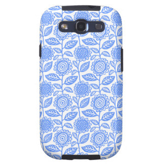 Floral Pattern 280313 - Baby Blue on White Samsung Galaxy SIII Covers