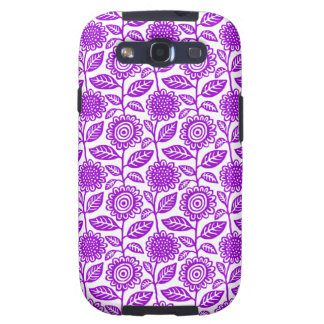 floral pattern 280313 - Purple on White Galaxy S3 Cases