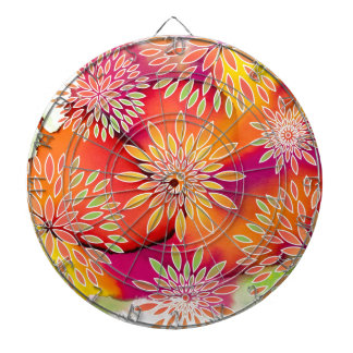 Floral Pattern and Watercolor Abstract Painting Dartboard With Darts