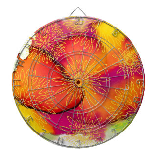 Floral Pattern and Watercolor Abstract Painting Dart Board