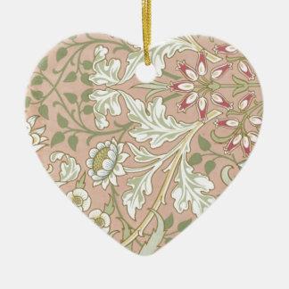 Floral Pattern ART deco Vintage style Ceramic Heart Decoration
