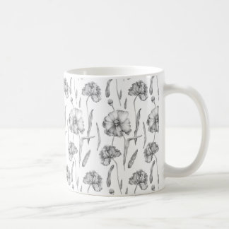 Floral Pattern Black and White Coffee Mug