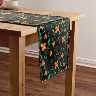 Floral pattern Black Short Table Runner