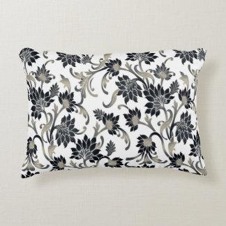 Floral Pattern Black+Tan Decorative Cushion