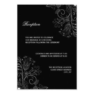 Floral Pattern Black/White - Reception Invitation