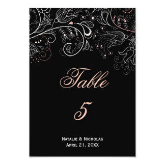 Floral Pattern Black/White Tulip - Table Number