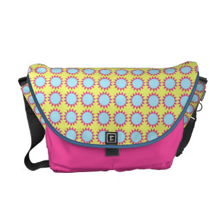 floral pattern blue and pink courier bag