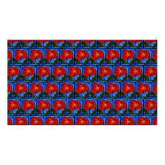 Floral Pattern. Blue with Red Poppy Flower. Business Card