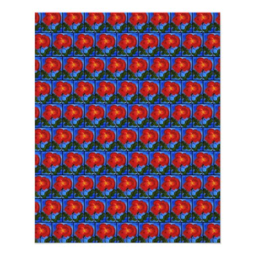 Floral Pattern. Blue with Red Poppy Flower. Flyers