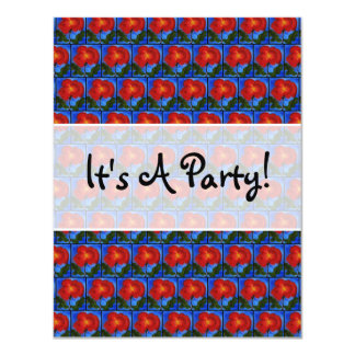"Floral Pattern. Blue with Red Poppy Flower. 4.25"" X 5.5"" Invitation Card"