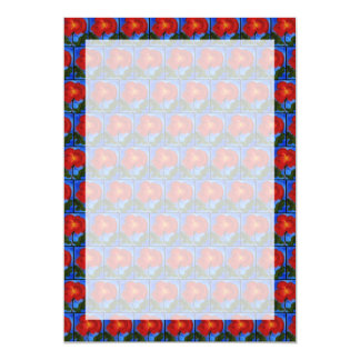 "Floral Pattern. Blue with Red Poppy Flower. 5"" X 7"" Invitation Card"