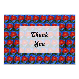 "Floral Pattern. Blue with Red Poppy Flower. 3.5"" X 5"" Invitation Card"