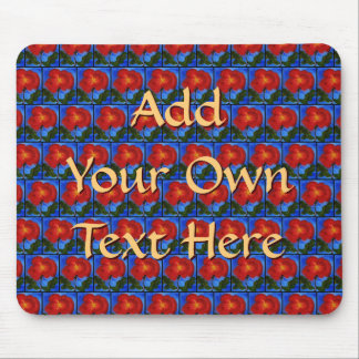 Floral Pattern. Blue with Red Poppy Flower. Mouse Pad