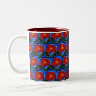 Floral Pattern. Blue with Red Poppy Flower. Mugs