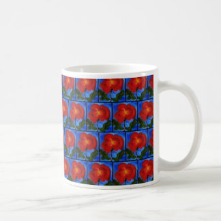 Floral Pattern. Blue with Red Poppy Flower. Coffee Mug