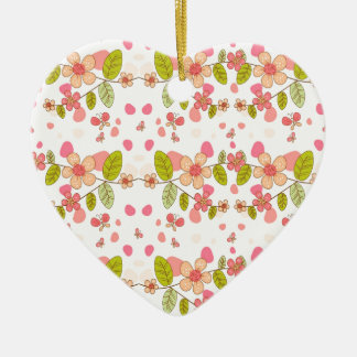 Floral pattern ceramic ornament