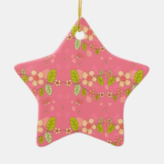 Floral pattern ceramic star decoration