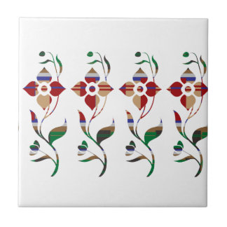 FLORAL Pattern : Creeper Flowers Small Square Tile