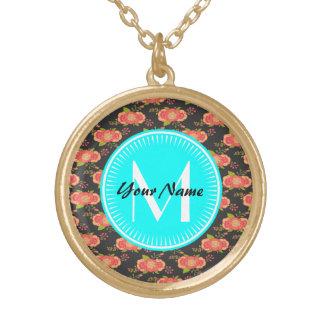 Floral Pattern Custom Monogram Round Pendant Necklace
