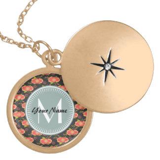 Floral Pattern Custom Monogram Round Locket Necklace