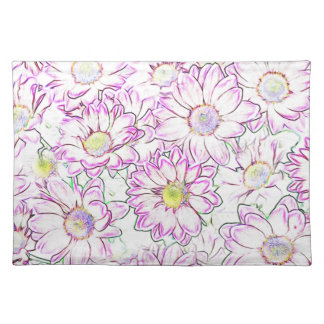 FLORAL PATTERN GIFTS. FRESH SPRING FLOWERS.PINK PLACEMAT