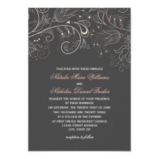 Floral Pattern Gray Tulip - Wedding Invitation