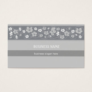 Floral Pattern grey Business Business Card