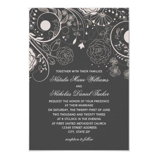 floral pattern grey white 3x5 wedding invitation. Black Bedroom Furniture Sets. Home Design Ideas