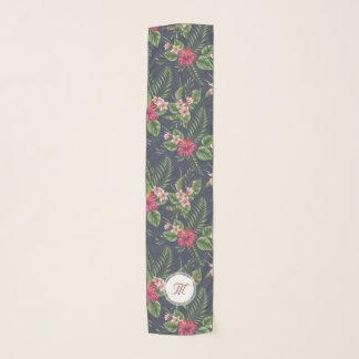 Floral pattern Hibiscus Monogram Long Scarf