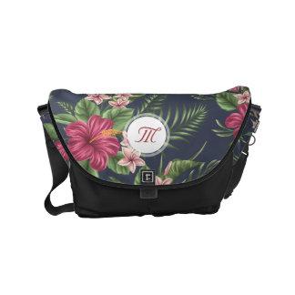 Floral pattern Hibiscus Monogram Messenger Bag
